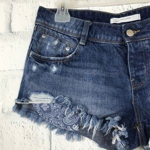 Zara Womens Size 6 Shorts Jean Distressed Low Rise